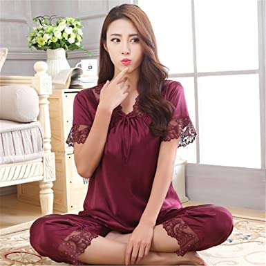 Michael Stevenson New Arrival Summer Women Short Sleeve Sleepwear Silk Pajama Set Two Pieces Sexy Hollow
