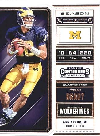 2018 Panini Contenders Draft Picks Season Ticket #94 Tom Brady Michigan Wolverines Football Card