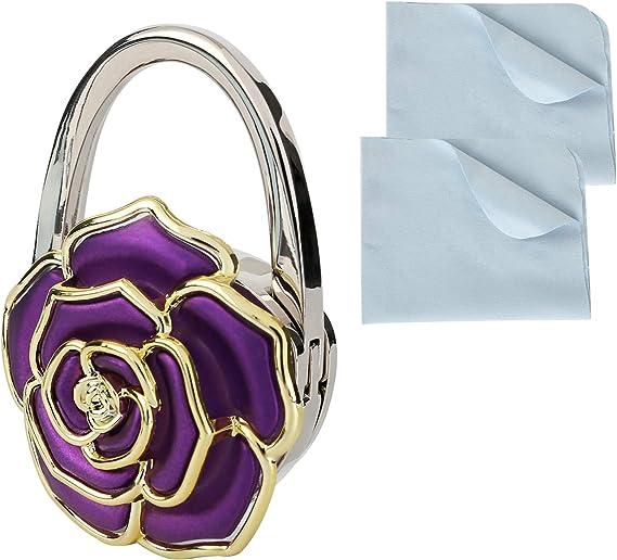 Foldable Purse Hook Womens Bag Table Hanger Collection Desk Hooks for Purse White+Black Marble Hook