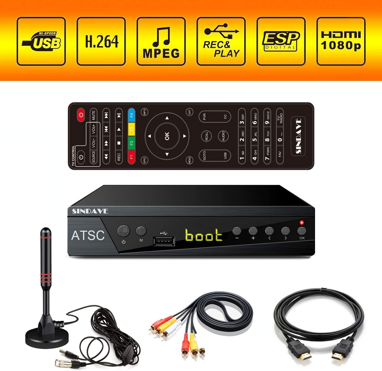 Digital TV Converter Box, HDTV Digital Converter for Analog TV, Sindave HD 1080P TV with Recorder, ATSC HDTV Digital Converter with Tuner, Pause Live (ATSC Tuner)