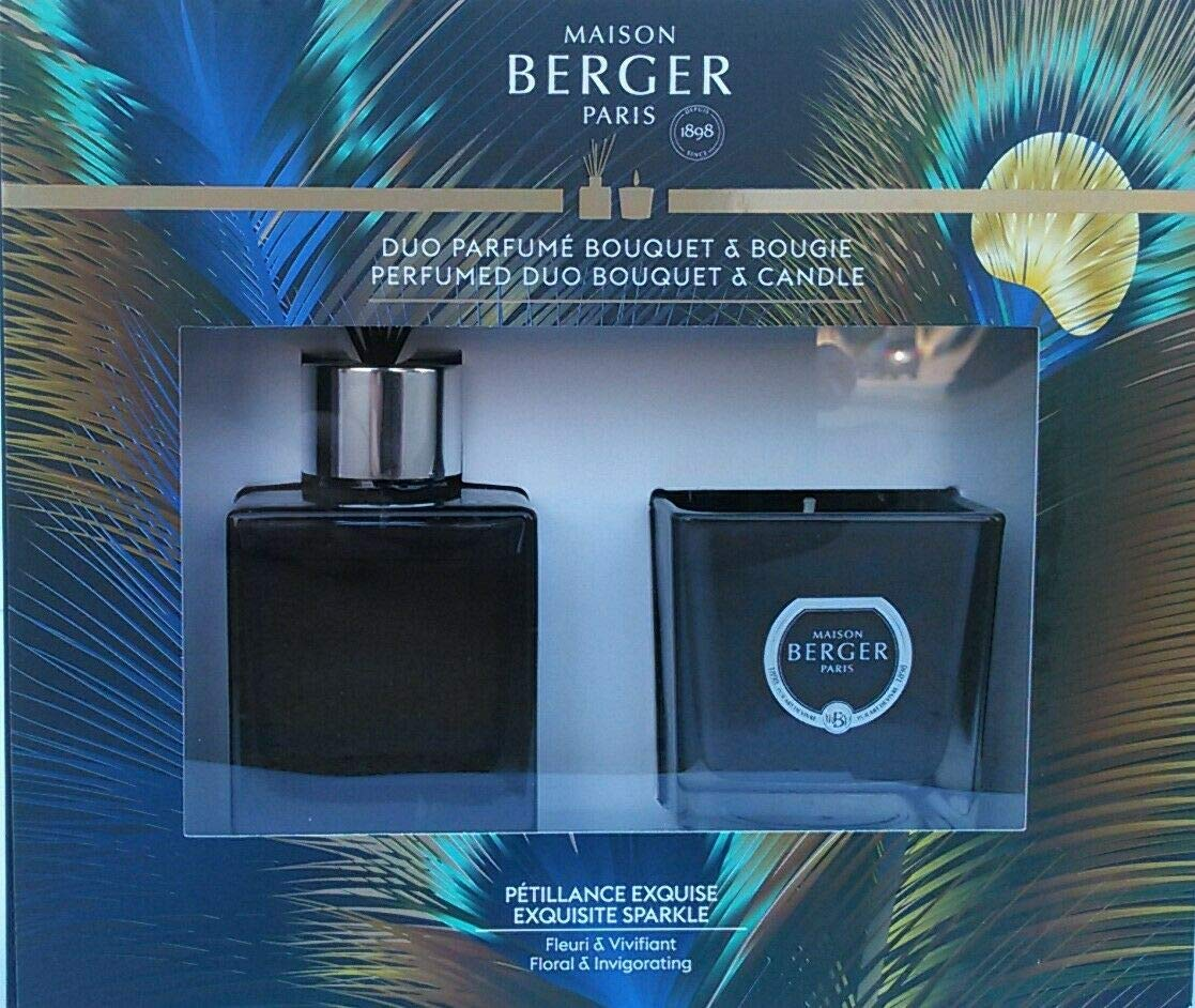 Pack Collection Etincelle - Mini Bouquet 80 milliliters / 2.7 Fluid Ounces & Mini Candle 80 grams - Grey Lacquered Glass - Exquisite Sparkle Fragrance - Floral & Invigorating - Made in France by MAISON BERGER