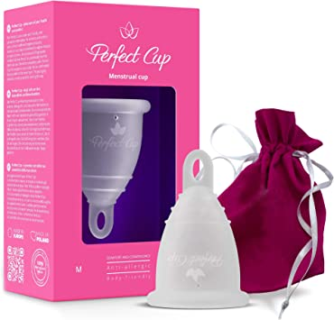 Taza perfecta – copa menstrual (bolsa incluida) – 100% silicona de grado médico – vegano – Super suave y flexible – Protección de 12 horas – ...