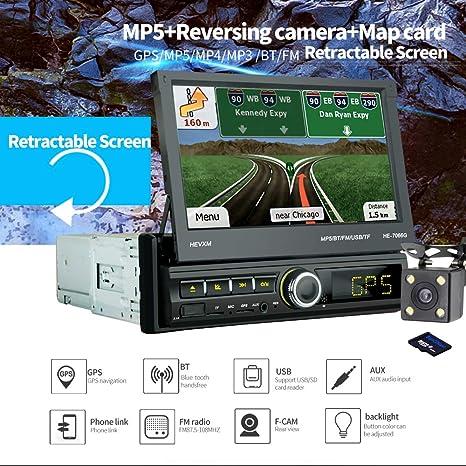 Parkomm 1Din GPS, Autoradio Bluetooth con pantalla táctil de 7 , navegación GPS, Radio FM / BT / TF ...