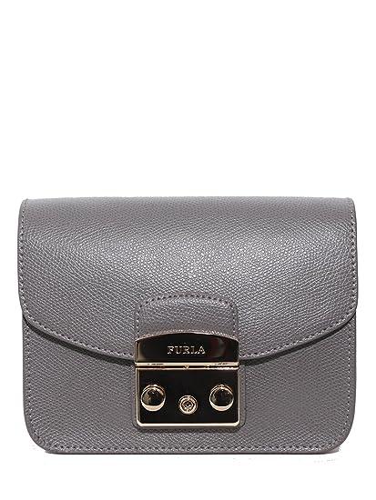 662046feea Borsa a tracolla Furla Metropolis Mini in pelle grigio argilla:  Amazon.co.uk: Clothing