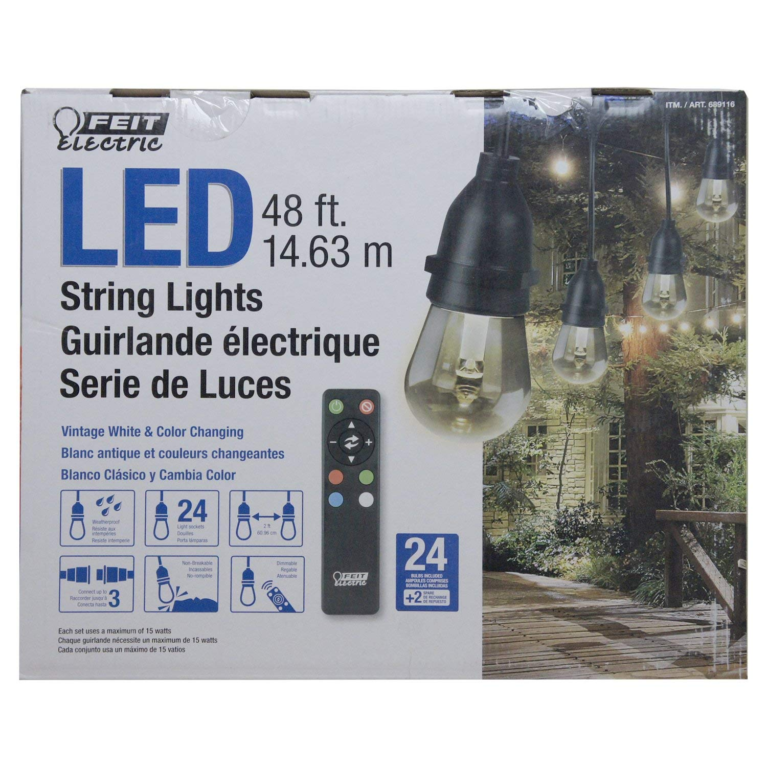 Feit Electric 48ft Led String Light By Wiring Fixtures In Series Google Search