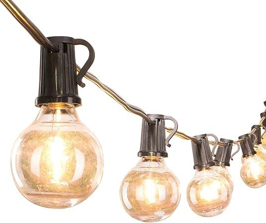 Led G40 Outdoor String Lights 50feet Patio Lights With 51 Led Shatterproof Bulbs 1 Spare Weatherproof Commercial Hanging Lights Backyard Bistro Deck Party Decor E12 Socket 2700k Black