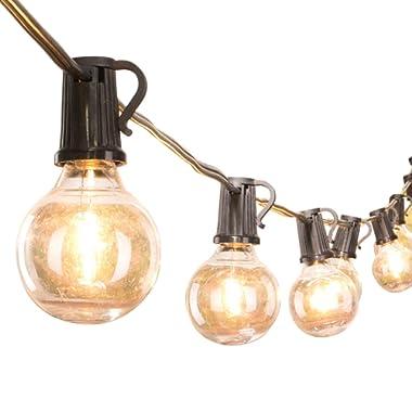 LED G40 Outdoor Patio String Light 25FT Globe Lights with 25 Shatterproof Clear LED Bulbs, UL Listed Commercial Light, Hanging Indoor/Outdoor Lights for Backyard Bistro Gazebo Decor, E12 socket, Black