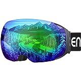 Enkeeo Skibrillen Snowboardbrille Abnehmbare Dual-Layer Anti-Fog Linse 100% UV400 Schutz, Bendable Frame, Anti-Rutsch-Gurt mit Komfort, Wind-beständig 3 Ebenen Schaum für Snowboarding Skating