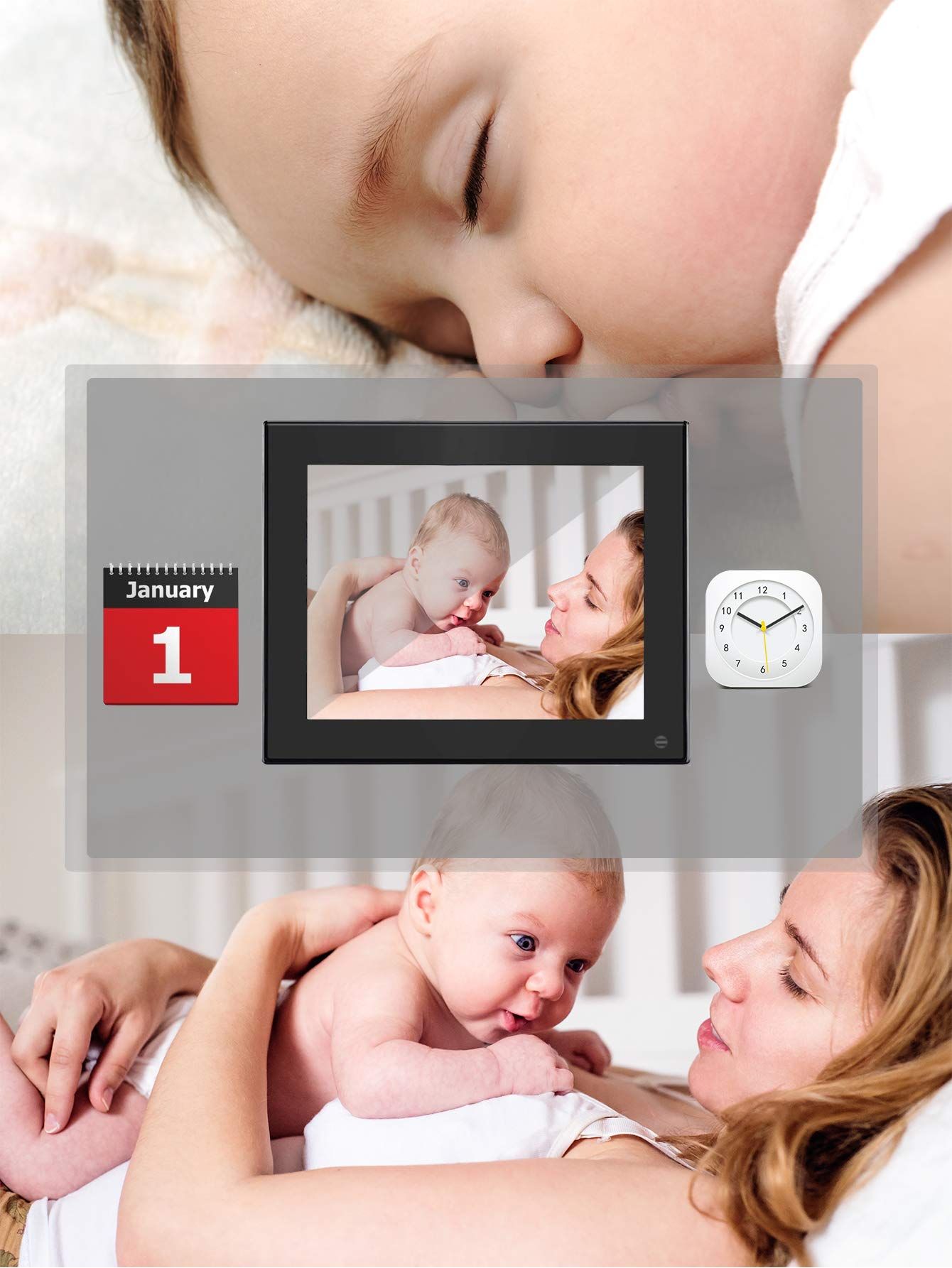 BSIMB Digital Photo Frame Digital Picture Frame 8 Inch 1024×768 Resolution Display with Calendar,Music,Video and USB,SD Card and Remote Control(M03 Black) by Bsimb (Image #6)