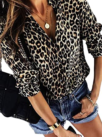 50f23cae2c21 Ramoug Womens Casual V Neck Leopard Print Button Down Long Sleeve Chiffon Shirts  Blouses Tops at Amazon Women's Clothing store: