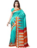 e-VASTRAM Women's Mysore Art Silk Printed Saree With Tassel/Kutch(RIMZIMG_Green)