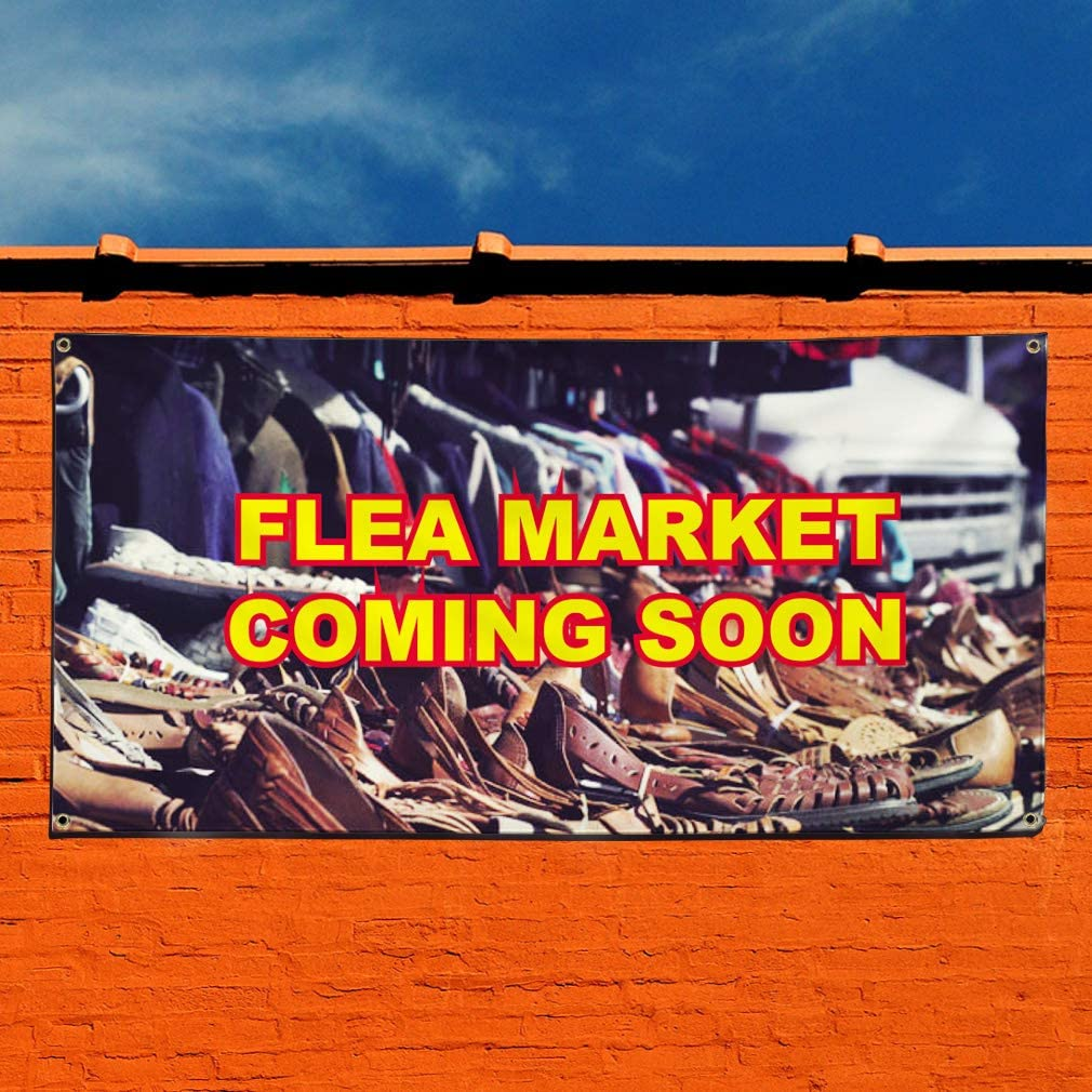 4 Grommets Set of 2 Multiple Sizes Available 28inx70in Vinyl Banner Sign Flea Market Coming Soon Business Outdoor Marketing Advertising Yellow