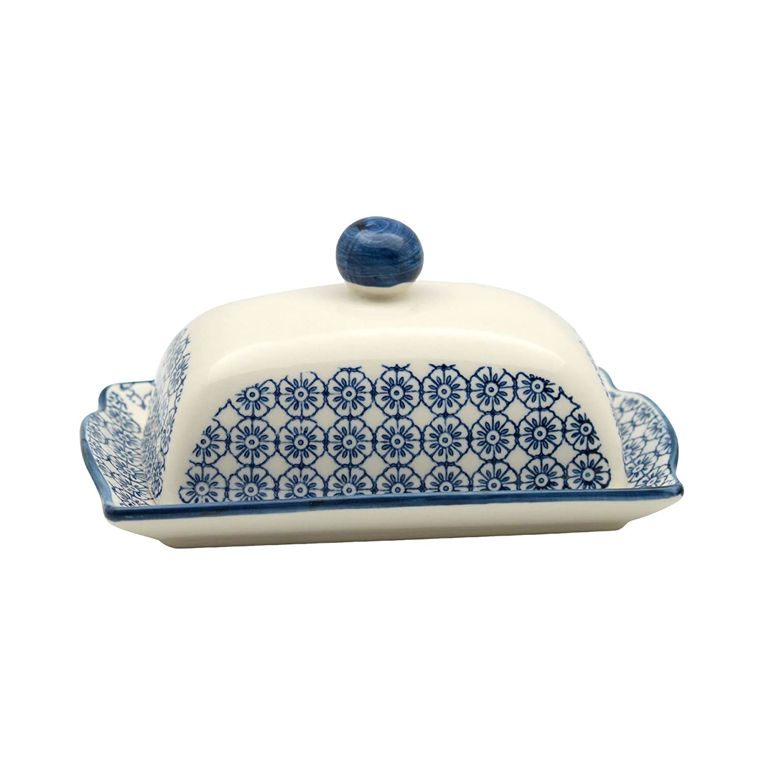 Patterned Butter / Margarine Dish with Lid - 185mm (7.3 inches) - Blue Flower Print Nicola Spring