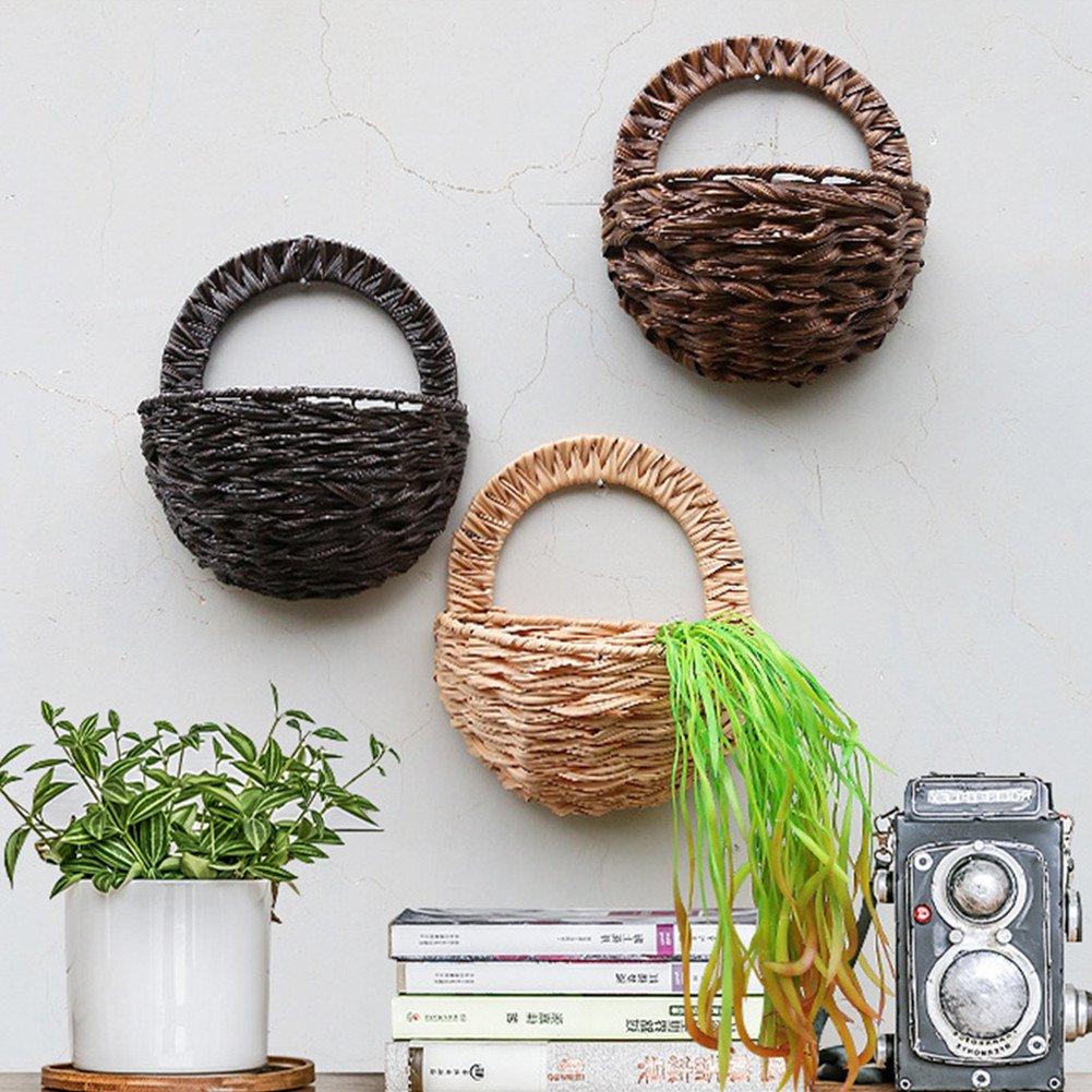 Sue Supply Cesta de flores artificiales para colgar en la pared, bambú, cesta trenzada, decoración de flores para interiores y exteriores, cesta para colgar