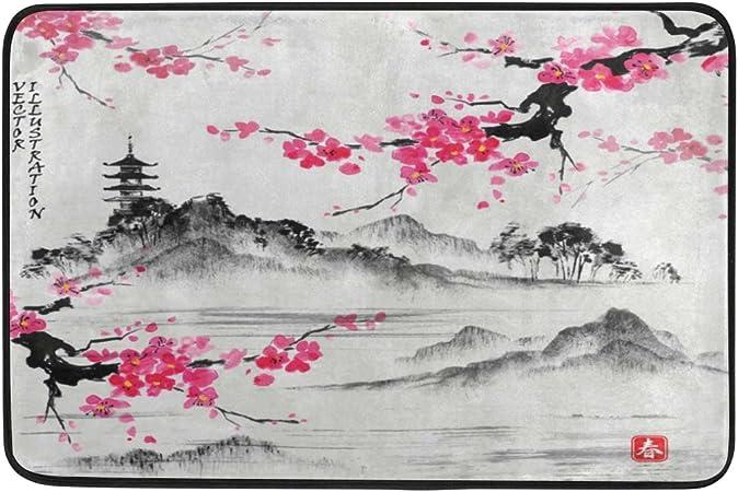 Use7 Japonais Peinture A L Huile Fleurs De Cerisier Sakura Fleur Paillasson D Entree Interieur Exterieur Tapis De Sol De Salle De Bain 60 X 40 Cm Amazon Fr Cuisine Maison