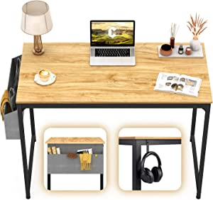 "CubiCubi Computer Desk 40"" Study Writing Table for Home Office, Modern Simple Style PC Desk, Black Metal Frame, Walnut"