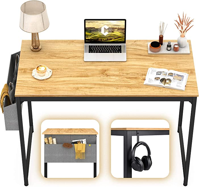 """CubiCubi Computer Desk 32"""" Study Writing Table for Home Office, Modern Simple Style PC Desk, Black Metal Frame, Walnut"""