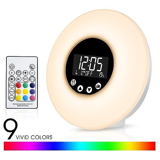 Fitfirst Reloj Despertador Luz LED con Control Remoto 9 Colores Ajustables Simula el Amanecer y Atardecer 10 Niveles de Brillo Reloj de Alarma 51 ...