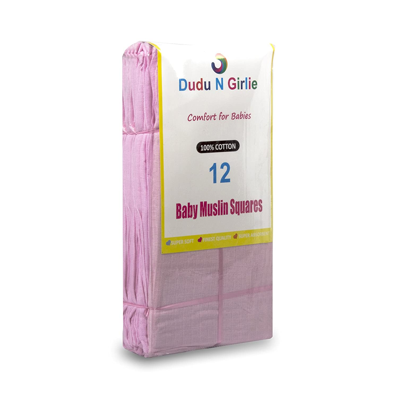 Rosa 12er-Pack Dudu N Girlie Musselint/ücher quadratisch