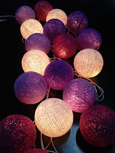 Guirnalda de luces LED, bolas de algodón tonos de violeta, la case de, interior, decoración del dormitorio: Amazon.es: Iluminación