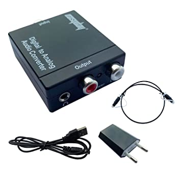 Easyday 3.5MM Digital Optical Coaxial Toslink to Analog RCA L/R Audio Converter Adapter