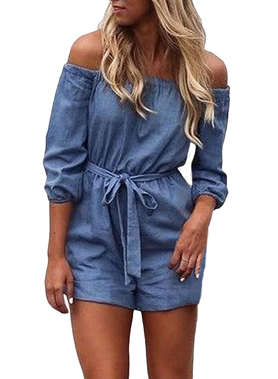 74c2fe79a10 Amazon.com  MNLYBABY Off Shoulder Denim Rompers for Women Half Sleeve Loose  Casual Denim Short Jumpsuit Playsuit Overalls  Clothing