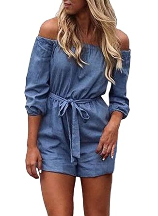 51a54769548f Amazon.com  MNLYBABY Off Shoulder Denim Rompers for Women Half Sleeve Loose  Casual Denim Short Jumpsuit Playsuit Overalls  Clothing
