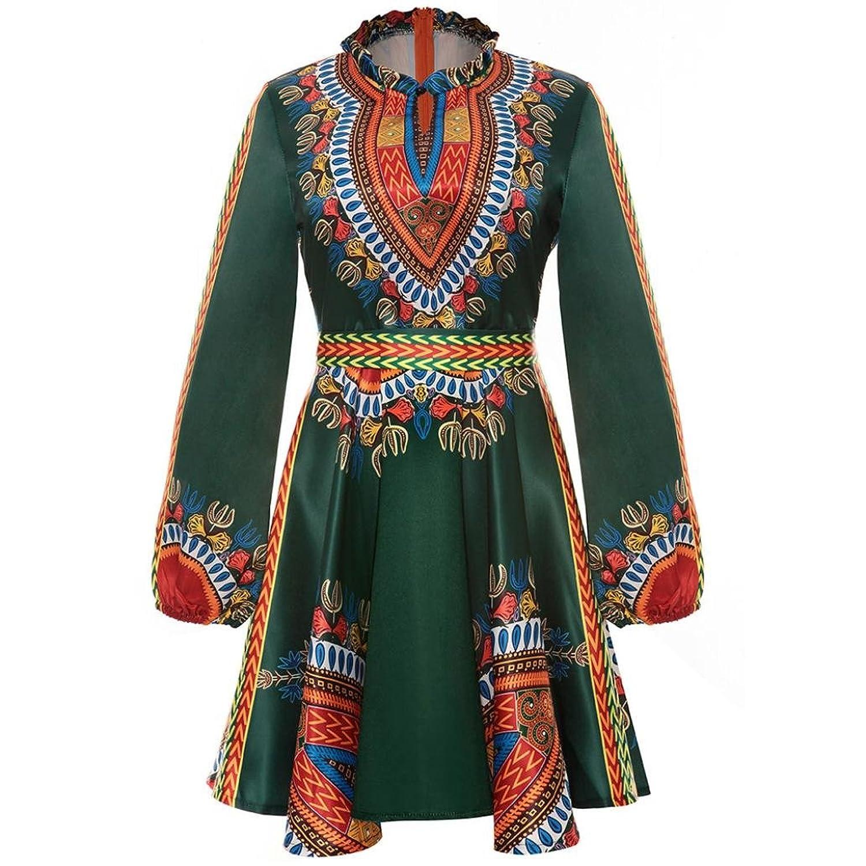 FEITONG Frauen Afrika Druck Höhle heraus Kleid Hauch Schärpe Minikleid  (XXXL, Grün): Amazon.de: Bekleidung