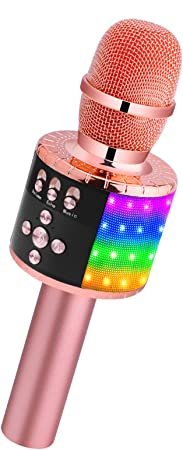 BONAOK Wireless Bluetooth Karaoke Microphone with Controllable LED Lights, Portable Handheld Karaoke Speaker Machine Birthday Home Party for All Smartphone(Q78 Rose Gold)