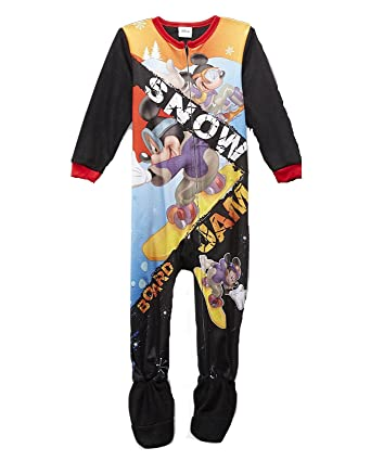 bc940976f Amazon.com  Disney MICKEY MOUSE Snow Boarding Boy s 3T Fleece Footed ...