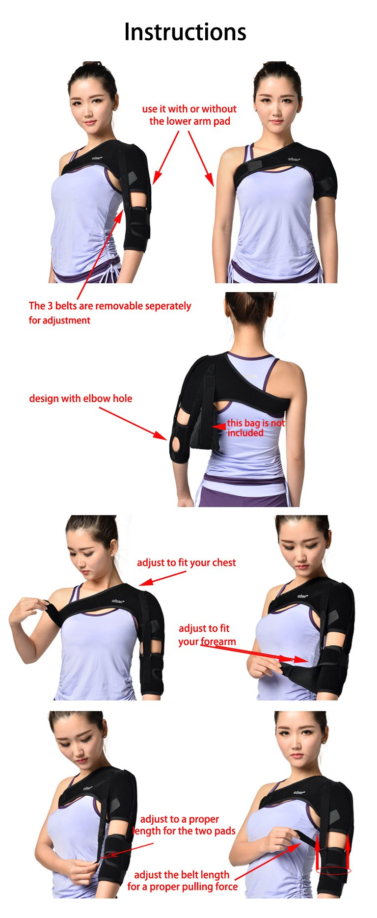 Shoulder Brace Support Arm Sling for Stroke Hemiplegia Subluxation Recovery, Left Shoulder by airgoesin
