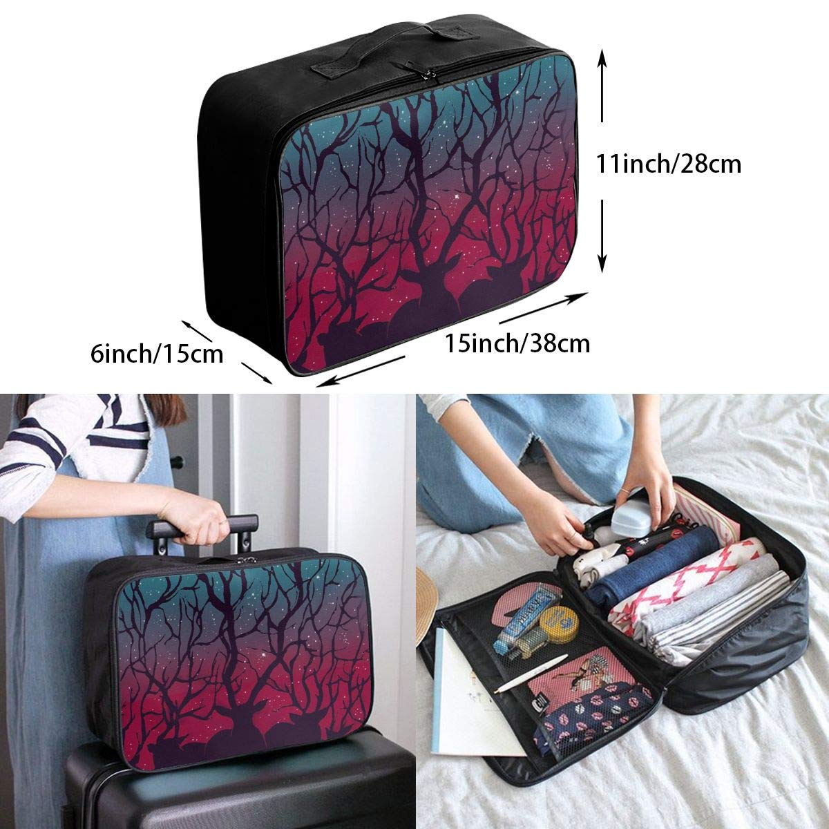 Stranger Deer In Forest Woodland Forest Tree Things Travel Duffel Bag Casual Large Capacity Portable Luggage Bag Suitcase Storage Bag Luggage Packing Tote Bag Weekend Trip