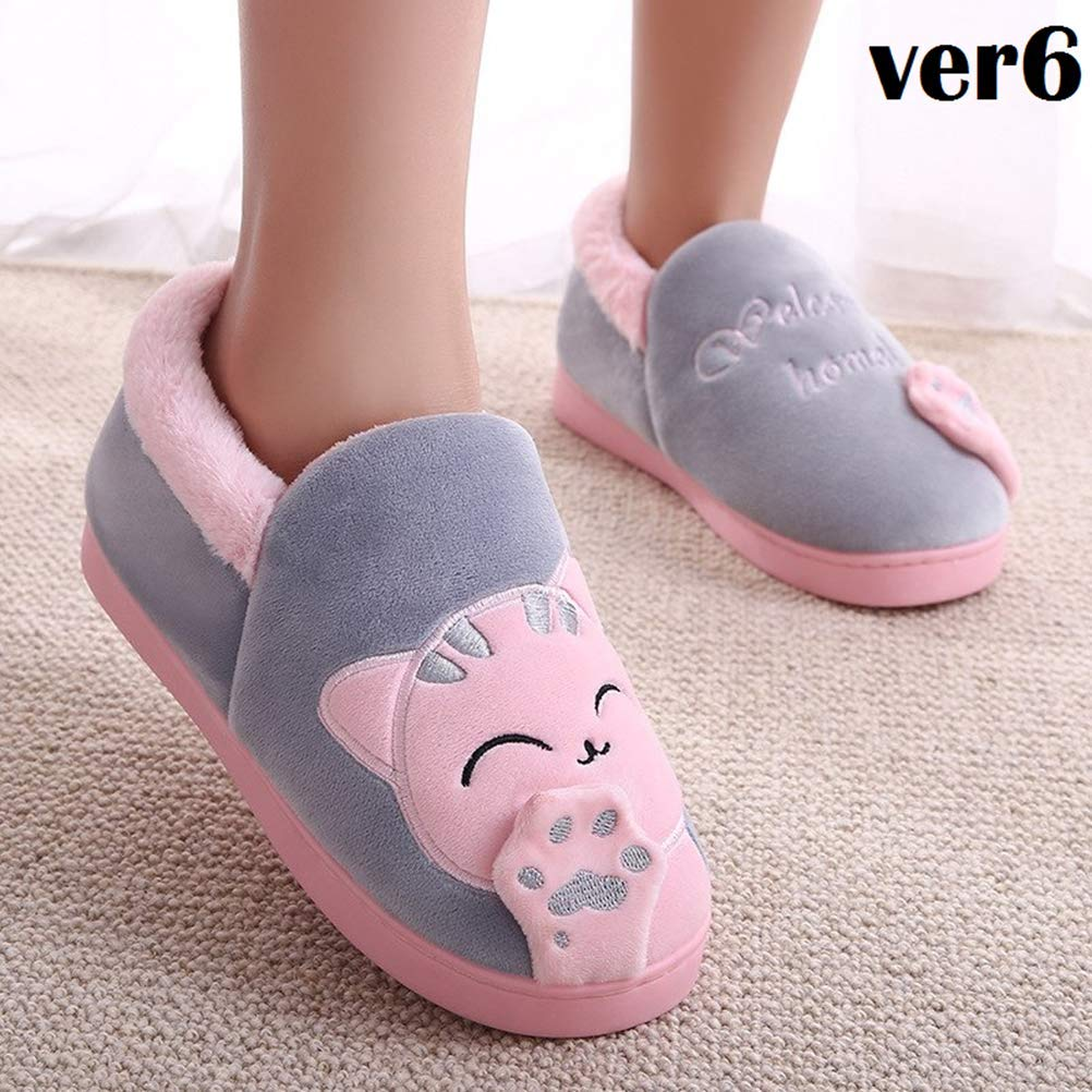 LQT Ltd Cartoon Cat 3D Claw Fluffy Women Slippers Patchwork Thicken Anti Slip Flip Flops Casual Plush Warm Slippers Fashion Woman Shoes
