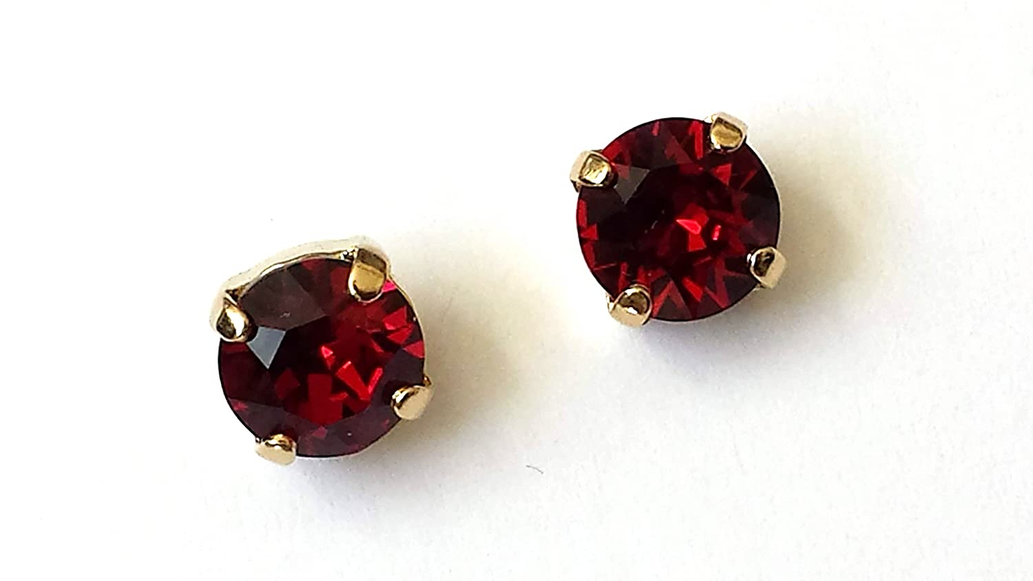 wholesale dealer great deals on fashion classic style of 2019 Amazon.com: Swarovski Ruby Crystal Stud Earrings Gold Post ...