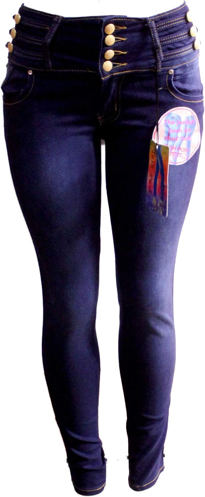 Tush push colombian 1461 med blue stretch levanta cola high waist skinny jeans