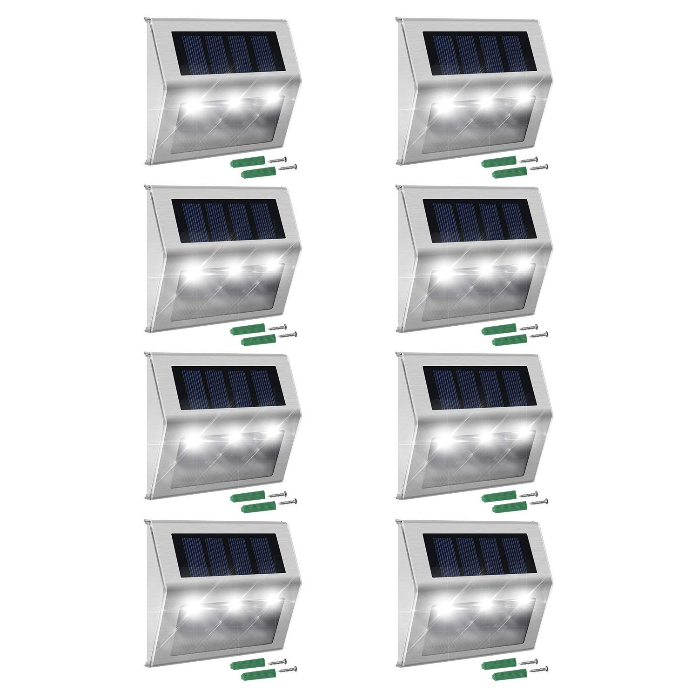 Solar Light,YOOYE Outdoor Stainless Steel LED Solar Step Light; Illuminates Stairs 10PACK Etc Deck Patio
