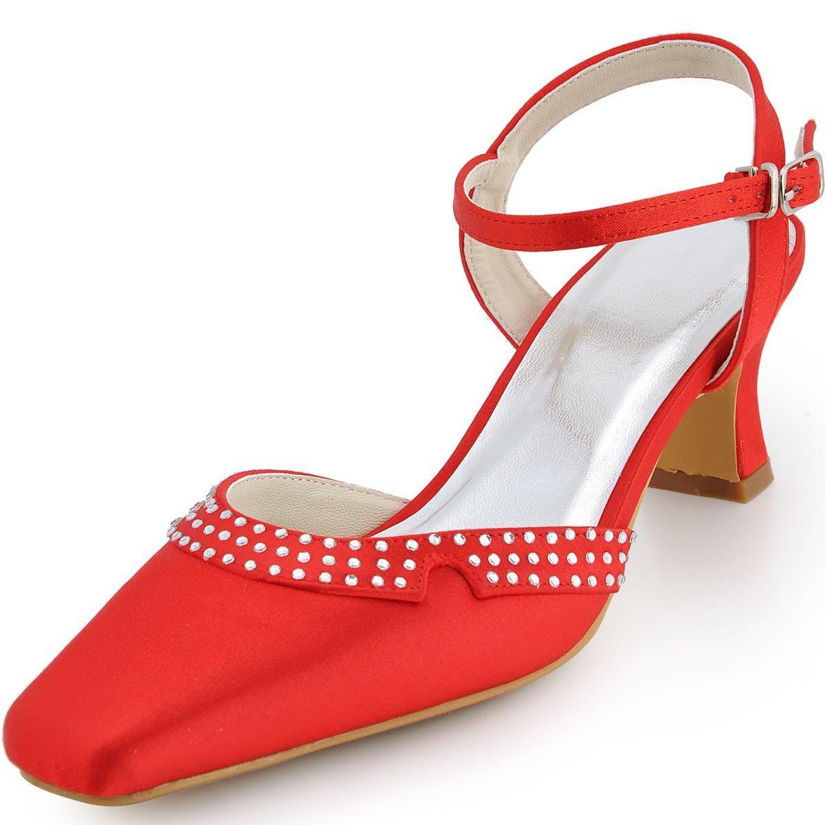 Elegantpark Femmes Femmes EP11033 Satin Bout Bout Carré Bloc Talon Boucle Diamant Satin Chaussures de Mariee Mariage Rouge 6d65886 - conorscully.space