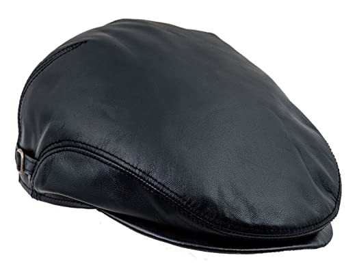 165aed1274e876 Sterkowski Genuine Leather Ivy League Classic Flat Cap with Earflap US 7  Black