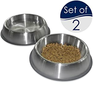 PetFusion Premium Brushed Anti-tip Dog & Cat Bowls (Set of 2 Bowls). Food Grade Stainless Steel. Bonded Silicone Ring for Traction.