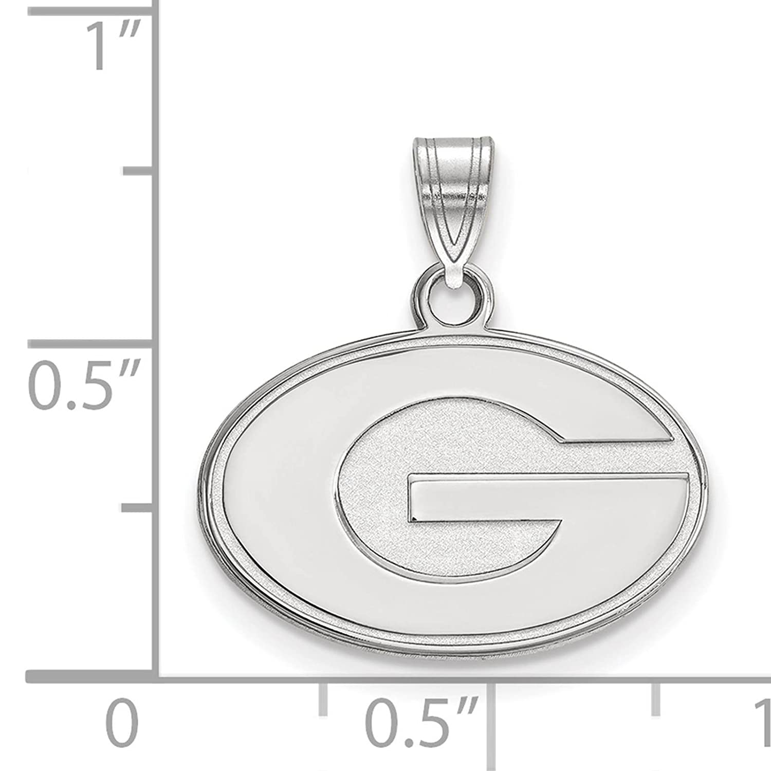 925 Sterling Silver Rhodium-plated Laser-cut University of Georgia Small Pendant