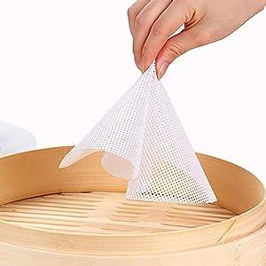 8 Pcs 10 Inch Silicone Steamer Mesh Mat Round Silicone Steamer Liners Mat Reusable Bun Steamer Pad Non-Stick Dim Sum Mesh for Home Kitchen Restaurant Dumplings Pastry
