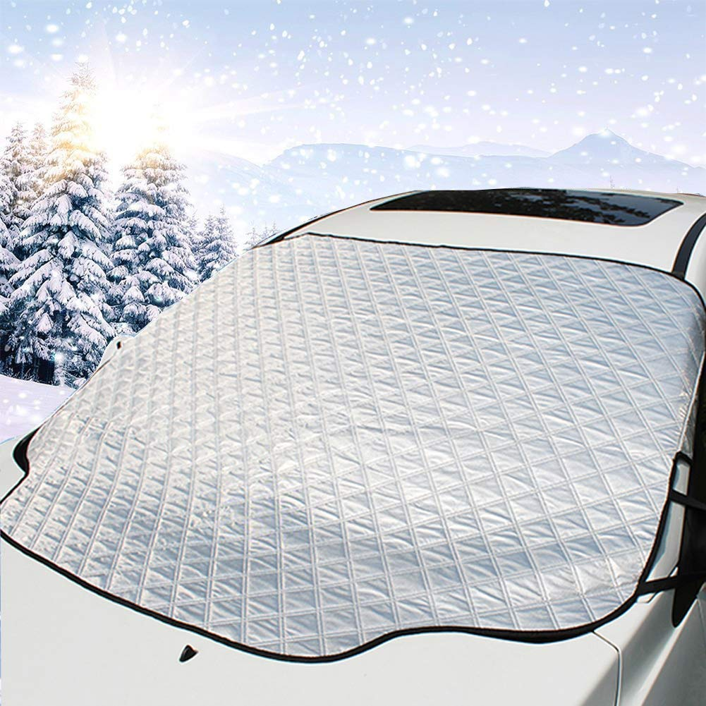 HiSung Car Windshield Snow Cover,Car Sunshades for Windshield with Magnetic Edges Snow, Ice Defense No Scratches,Cotton Thicker Windshield Winter Cover Fits for Most Cars
