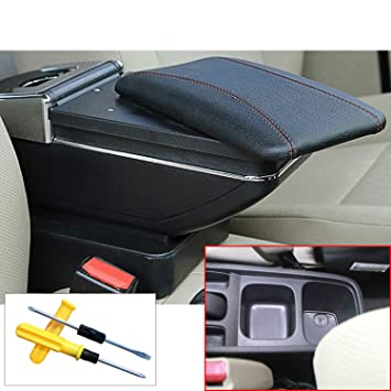MyGone para Fit Jazz 2008-2013 Auto Consola Central Apoyabrazos Reposabrazos Accesorios con portavasos Cenicero extraíble Negro: Amazon.es: Coche y moto