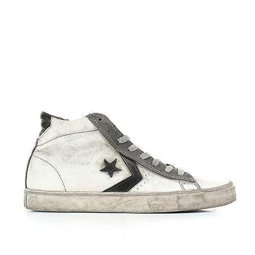 Converse, Uomo, Pro Leather Vulc Mid Suede Distressed, Suede / Pelle, Sneakers Alte, Blu, 46 EU