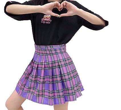 4887e60a12e3 Sweet Style Harajuku Purple Plaid Skirt 2018 Summer High Waist Pleated A-line  Mini Skirt Women at Amazon Women's Clothing store: