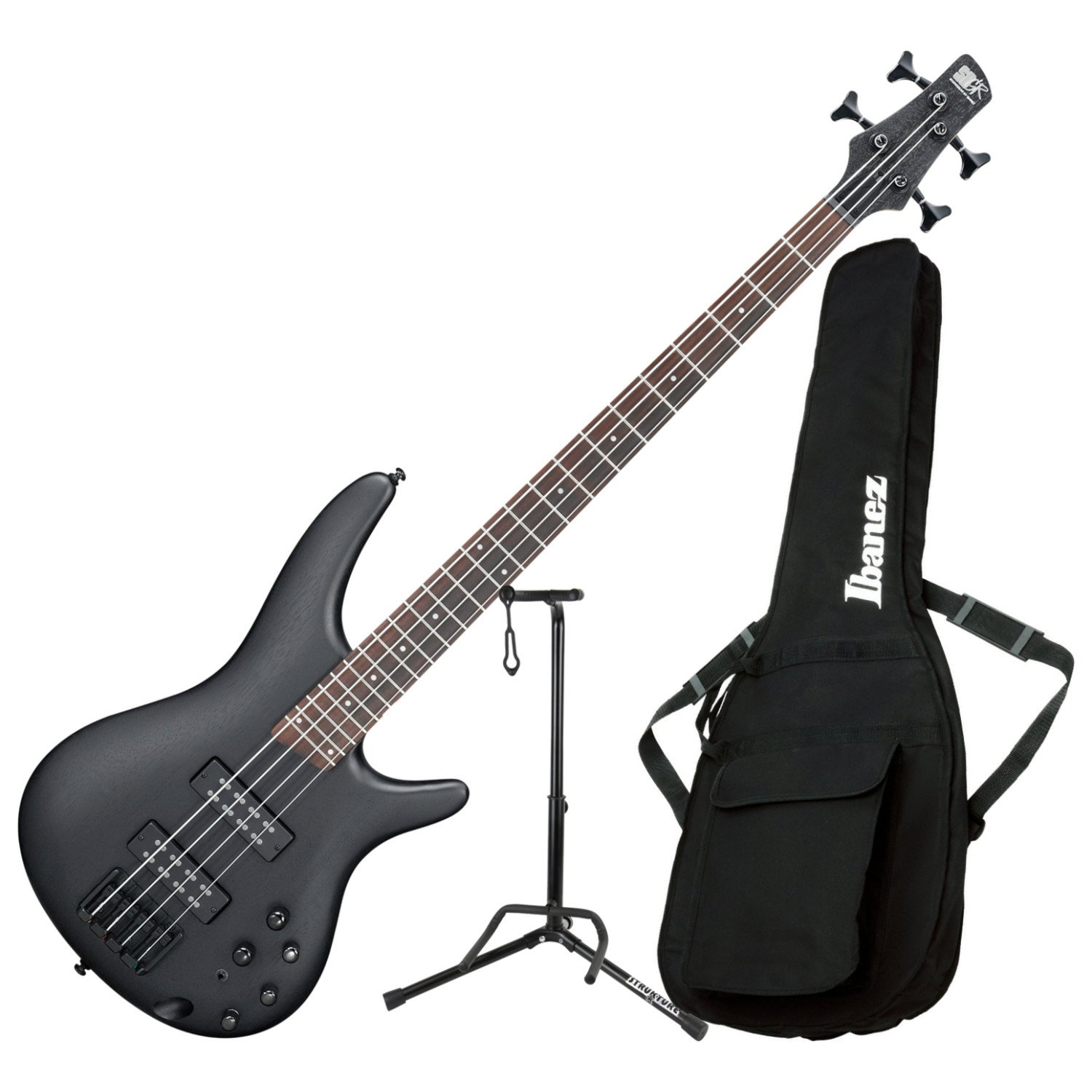 Ibanez SR300EB WK 4 String Electric Bass Guitar Weathered Black with Gig Bag and Stand