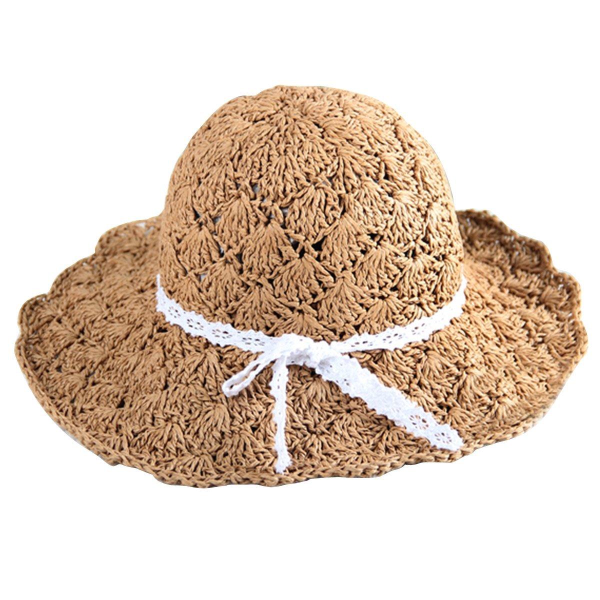 LA HAUTE-&-Cappellino da spiaggia per bambini estivo pieghevole in paglia con cappello da sole Adult...