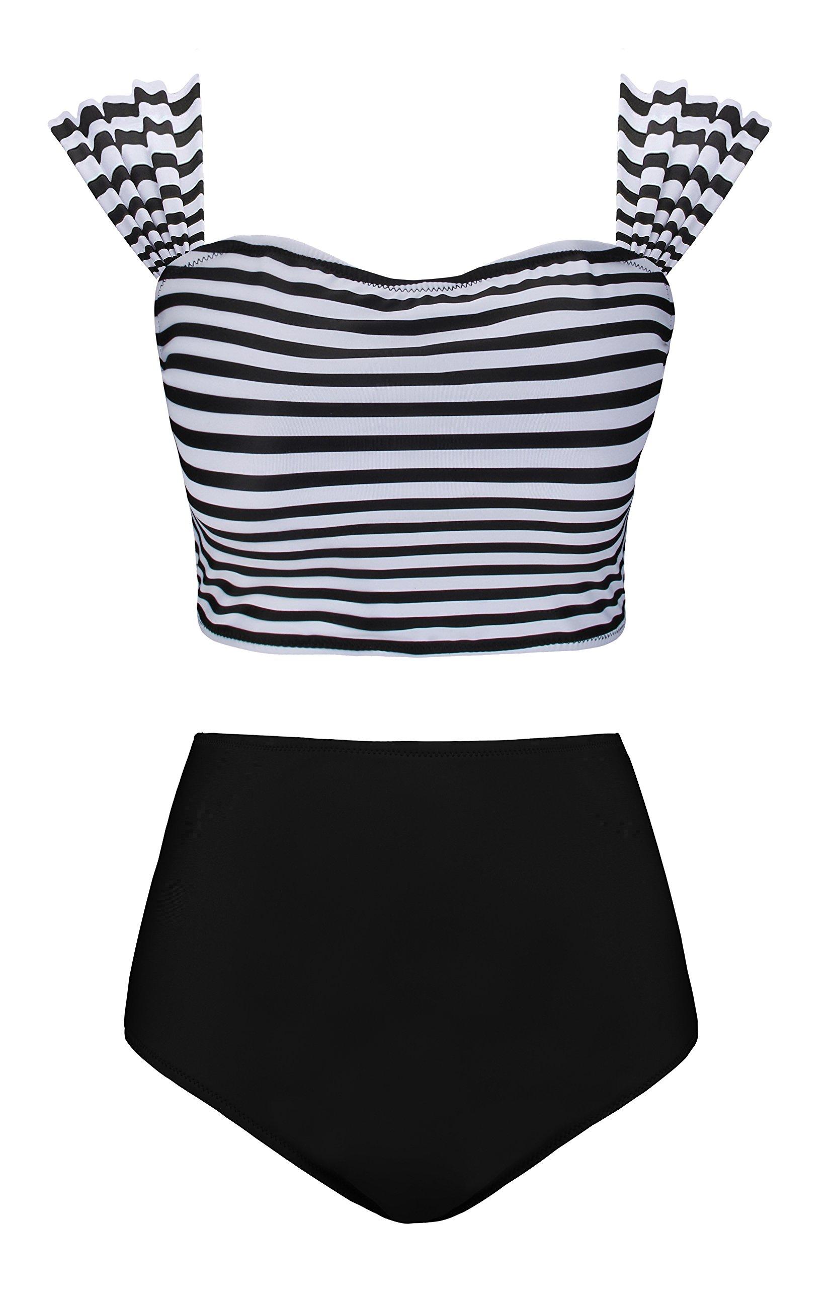 Angerella Tankini High Waisted Swimsuit For Women Bathing Suits Off The Shoulder Swimwear Bikini Black,XL