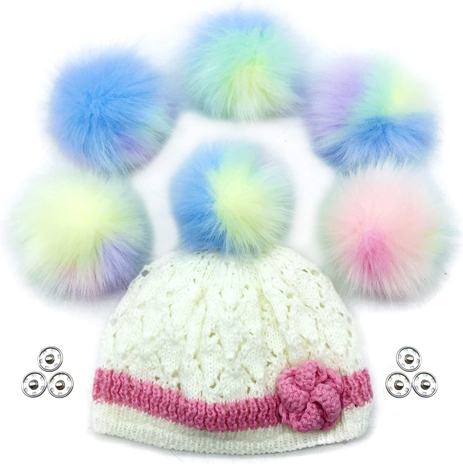 Pastel Assortment by Haven-Sent Faux Fur Pom Pom Balls DIY Hats and Crafts Extra Large {5-6 INCHES} Set of 3 Removable Pompoms with Snaps for Knitting Accessories