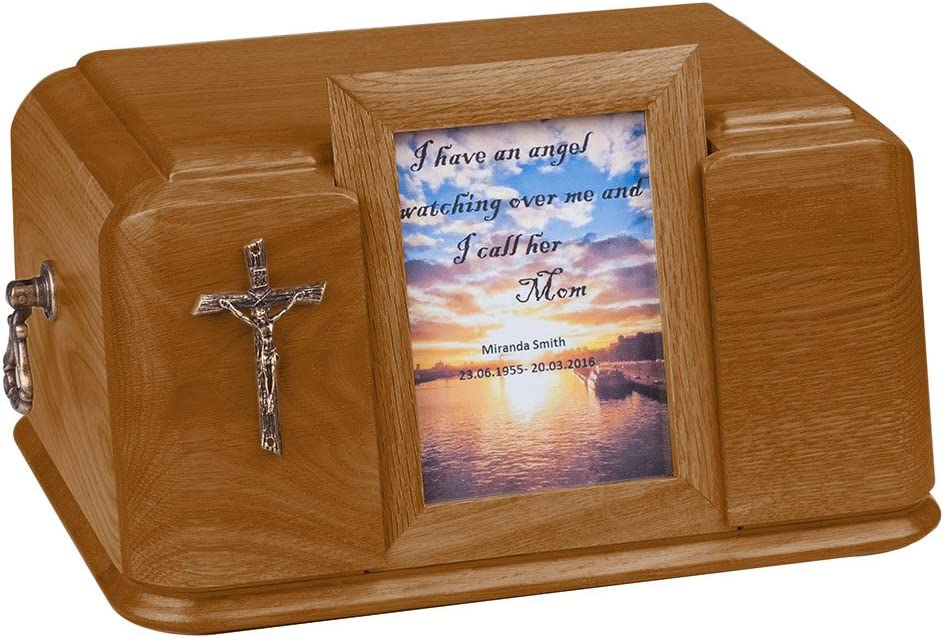 unique.urns/_caskets BEAUTIFUL NATURAL WOOD CASKET WITH GOLD CROSS AND HANDLES FUNERAL ASHES URN